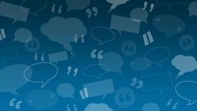 De toespraak en de gedachte borrelen met citaattekens geschikt als achtergrondillustratie voor cliënt/klantenhuldeblijken of comm vector illustratie