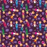 De Toespraak Naadloze Pattern_eps van het Jonge geitje van het meisje Stock Afbeelding