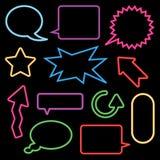 De toespraakbellen en tekens van het neon Royalty-vrije Stock Afbeelding