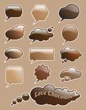 De toespraakbellen van de chocolade Stock Fotografie