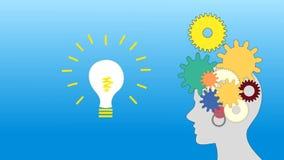 De toestellen roteren binnen de menselijke hersenen en een idee, animatie, royalty-vrije illustratie