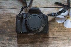 De toestellen van het huis Camera SLR en lens Royalty-vrije Stock Fotografie