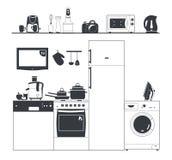 De toestellen van het keukensilhouet Wasmachine, koffiezetapparaat Potten en koelkast Plank met elektrische apparaten Keuken Royalty-vrije Stock Fotografie