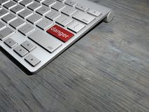 De toetsenbordknoop, gevaar op het Web, zou Internet-onderzoek gevaarlijk kunnen zijn royalty-vrije illustratie
