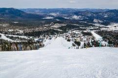 De toevlucht Sheregesh, Berg Shoria, Kemerovo gebied, Rusland van de ski. stock afbeeldingen