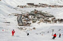 De toevlucht Tignes van de ski. Frankrijk Stock Foto's