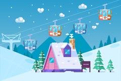 De toevlucht van de bergski in de winter Sneeuw en Pret Vectorillustratie in vlakke stijl Royalty-vrije Stock Afbeelding