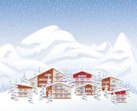 De toevlucht van de bergski vector illustratie