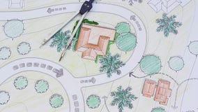 De Toevlucht van Designs Blueprints For van de landschapsarchitect stock video