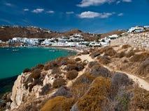 De toevlucht van het strand in Mykonos Stock Afbeeldingen