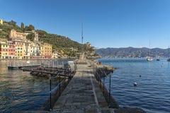 De Toevlucht van de Portofinotoerist van Ligurian Riviera Stock Afbeeldingen