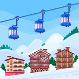 De toevlucht Vectorillustratie van de de winterski Houten hotelshuizen, het landschap van sneeuwbergen en kabelcabines royalty-vrije illustratie