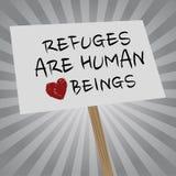 De toevluchtsoorden zijn menselijke wezensbanner op grijs Stock Afbeelding
