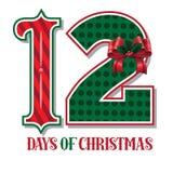 De tolv dagarna av den typografiska illustrationen för jul Royaltyfria Bilder