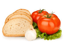 De tomaat en de ui van het brood Royalty-vrije Stock Afbeeldingen