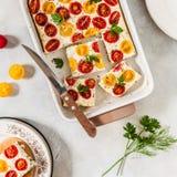 De tomaat en de Kwark bakken stock afbeelding