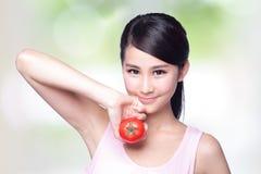 De tomaat is groot voor gezondheid stock afbeelding