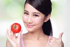 De tomaat is groot voor gezondheid royalty-vrije stock foto