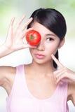 De tomaat is groot voor gezondheid stock foto