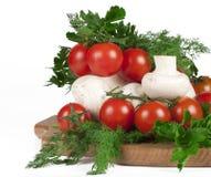 De tomaten, de paddestoelen, de peterselie en de dille van de kers Royalty-vrije Stock Afbeeldingen