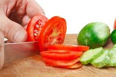 De tomaten en de komkommers van de karbonade royalty-vrije stock foto