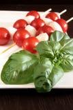 De tomaten en de mozarella van de kers op vleespennen Stock Foto's