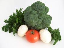 De tomaten, kool, mushrums en de peterselie Royalty-vrije Stock Foto's