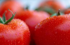 De tomaten met water laat vallen 9 Royalty-vrije Stock Afbeeldingen