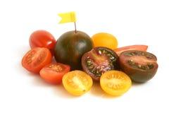 De tomaten van de kers met kleine vlag Stock Foto