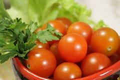 De tomaten van de kers met peterselie stock afbeelding