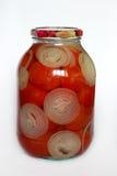 De tomaten van de oma in glaskruik stock afbeeldingen