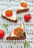 De tomatenbruschetta van de kers Stock Fotografie