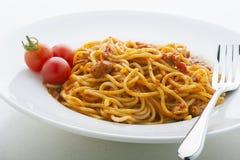 De tomatensaus en de kip van de spaghetti. Stock Foto