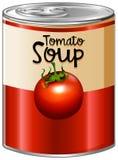 De tomatensoep in aluminium kan royalty-vrije illustratie
