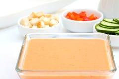 De tomatensoep van Gazpacho stock foto's