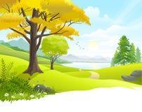 De toneelmening van het plattelandsmeer royalty-vrije illustratie