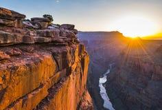 De toneelmening van Toroweap overziet bij zonsopgang in grote het noordenrand, stock afbeelding