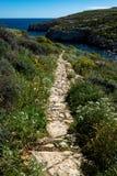 De toneelweg van het Aardlandschap in Mgarr ix xini stock afbeeldingen