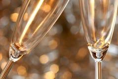 De toost van Kerstmis met champagne Stock Foto