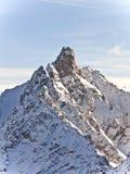 De top van de berg in de alpen, stock afbeelding