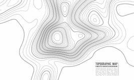 De topografische achtergrond van de kaartcontour Topokaart met verhoging De vector van de contourkaart Geografisch de kaartnet va vector illustratie