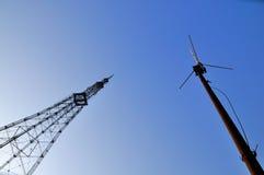 De toren en de antenne van Televison Royalty-vrije Stock Afbeeldingen