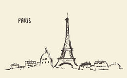 De Toren Parijs, vectorillustratie van schetseiffel Stock Afbeelding