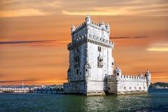 De toren van Belem in de stad van Lissabon, Portugal Stock Foto's