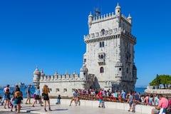 De Toren van Belem, Lissabon Stock Afbeeldingen