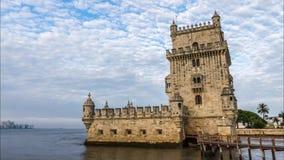 De Toren van Belem in Lissabon, Portugal stock footage