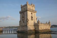 De Toren van Belem op Tagus-rivier, Lissabon, Portugal Royalty-vrije Stock Afbeeldingen