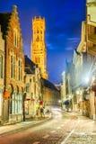 De toren van Brugge, Belfort, Vlaanderen in België royalty-vrije stock foto's