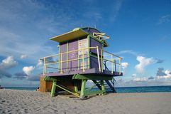 De Toren van de badmeester in het Strand van het Zuiden Royalty-vrije Stock Afbeelding