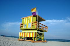 De Toren van de badmeester in het Strand van het Zuiden Royalty-vrije Stock Foto's